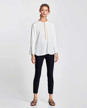 ZARA Front Lace Cotton Top