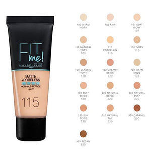 Maybelline Fit me Matte + Pore less Foundation- 16 Shades