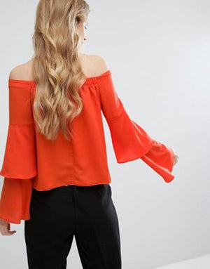 Off Shoulder Ruffle Top- MR01