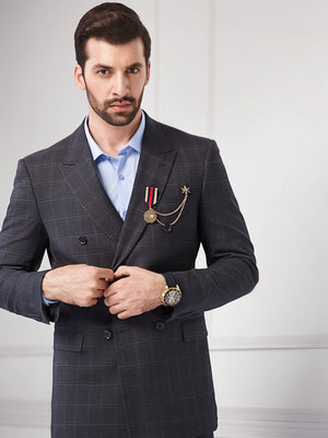 Double Breasted Charcoal Black Suit- 2 Piece- M05