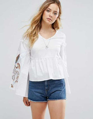 Sleeve Embroidered Top