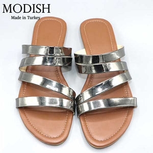 Cross Strap Metallic Slide- 4 Colors- M0056