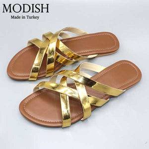 Cross Strap Stylish Slide- 4 Colors- M0057