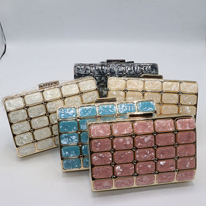 Beautiful Marble Texture Evening Clutch- 5 Colors- M048