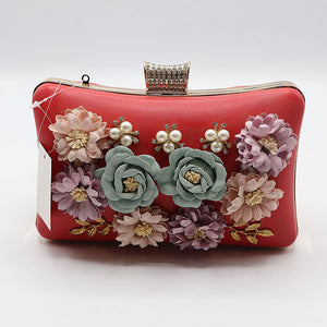 Flower Embossed Fancy Clutch- 4 Colors- M029
