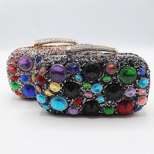Big Multicolor Stone Fancy Clutch- 3 Colors- M037