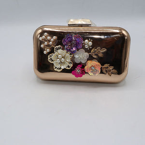 Patent Flower Embossed Evening Clutch- M043