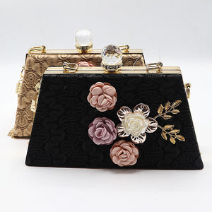 Flower Embossed Classic Evening Clutch- 3 Colors- M046