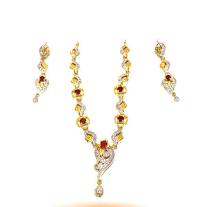 1 Kerate Gold Necklace & Earing Set- 003