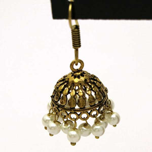 Antique Style Gold & White Pearls Indian Jhumki