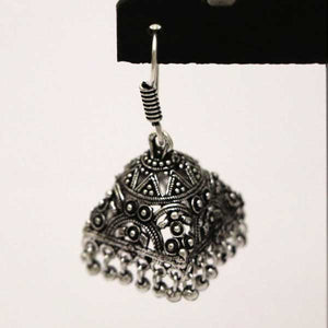 Embossed Silver Plating With Silver Stone Jhumka