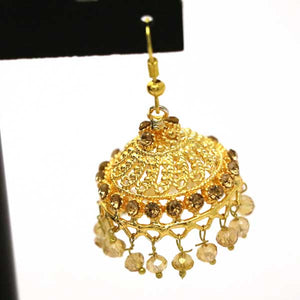 Gold Plated Round Antique Indian Jhumki