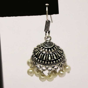 Silver With Embossed Design & beads Indian Jhumki