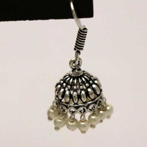 Silver Plating Engraved Design With White Beads Jhumka