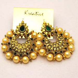 Beautiful Kashmiri Kundan Earing with Polka Design & Engraved Stone- 002