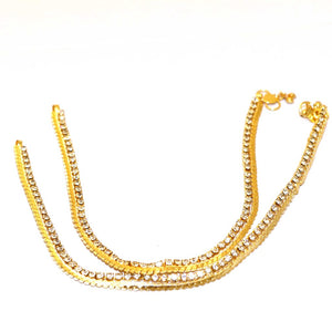 2 Pcs Golden Payal with White Crystals
