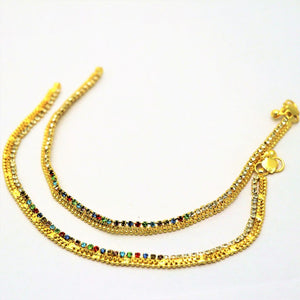 2 Pcs Golden Payal with Multi Color & White Crystals