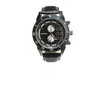 Diesel Black Dial & Black Leather Strap Watch - A003