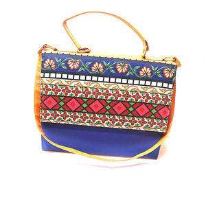 Flower Print Design Leather Bag