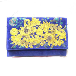 Blue Flower Printed Leather Bag