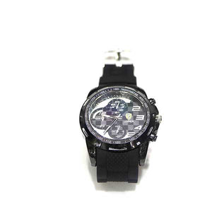 White Dial & Black Leather Strap Watch - A0016