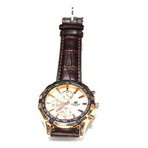 White Dial & Leather Strap Watch- A0024