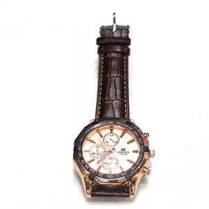 White Dial & Brown Leather Strap - A0017