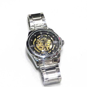 Stainless Steel & Black Dial Watch- A0021