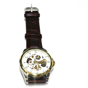 White Dial & Brown Leather Strap Watch - A0025