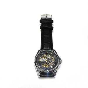 Black Dial & Black Leather Strap Watch- A0028