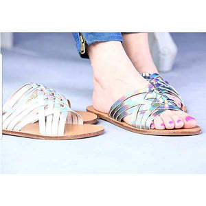 Metallic Strappy Stylish Flat- 4 Colors- M068