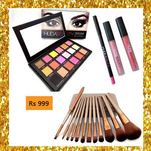 Deal 17 ( Eye Shade Kit, Brush Set, Lip Gloss, Lip Contour)