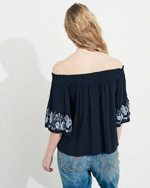 Embroidered Off Shoulder Top- Black