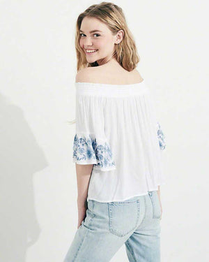Off Shoulder Embroidered Top- White