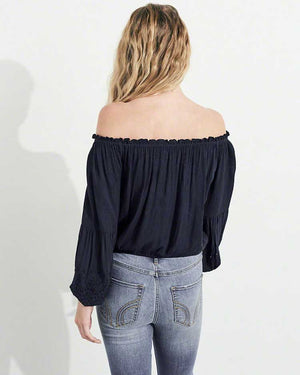 Sleek Off Shoulder Top- Black