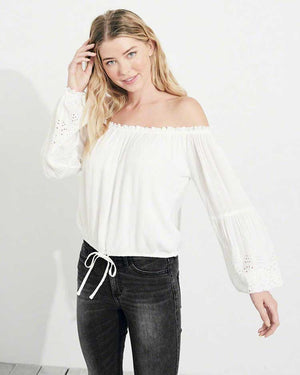 Sleek Off Shoulder Top- White