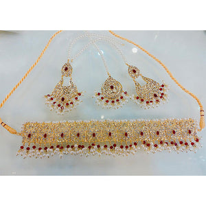Real Stones Indian Necklace Set with Matha Tika- K0010