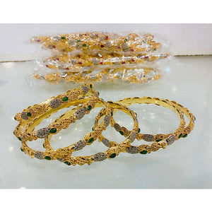 6 Pcs 1 Kerat Gold Engraved Stone & Design Bangal Set- K0158