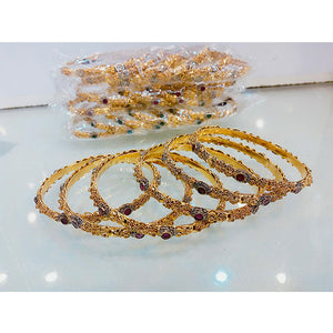 6 Pcs 1 Kerat Gold Engraved Stone Bangal Set- K0159