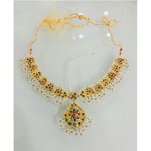 Multicolor Engraved Stone Indian Necklace- K091