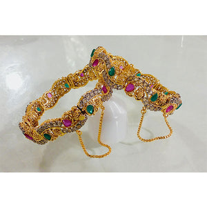 2 Pcs 1 Kerat Gold Engraved Stones Indian Kara- K02