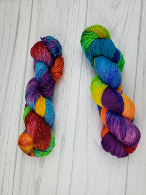 Rainbow Sunshine, Hand Dyed Yarn in DK Weight - Spindle warps yarns