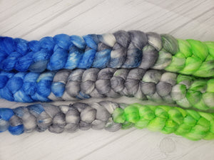 Legion of Boom Merino/Tussah Silk 80/20 Hand Dyed Fiber - Spindle warps yarns