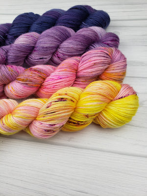 Seattle Sunrise, Hand Dyed Yarn in DK Weight - Spindle warps yarns