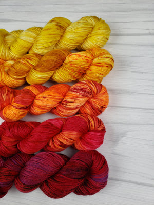 Happy Fall Y'all, Hand Dyed Fade Set in Sock Weight - Spindle warps yarns