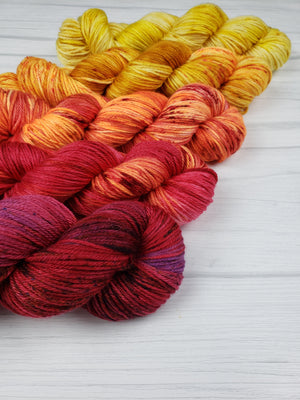 It's Fall Y'all, Hand Dyed Yarn in DK Weight - Spindle warps yarns