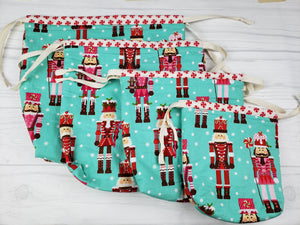 Nutcracker and Peppermint Reversible Project Bag - Spindle warps yarns