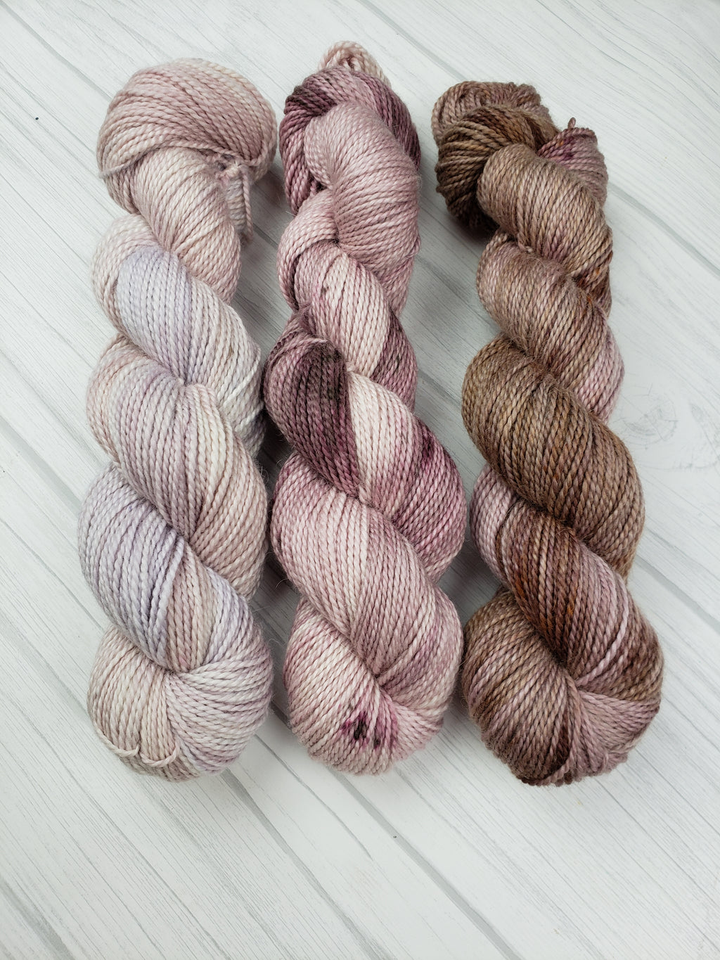 Plum Creek, Hand Dyed Fade Set on DK Weight - Spindle warps yarns
