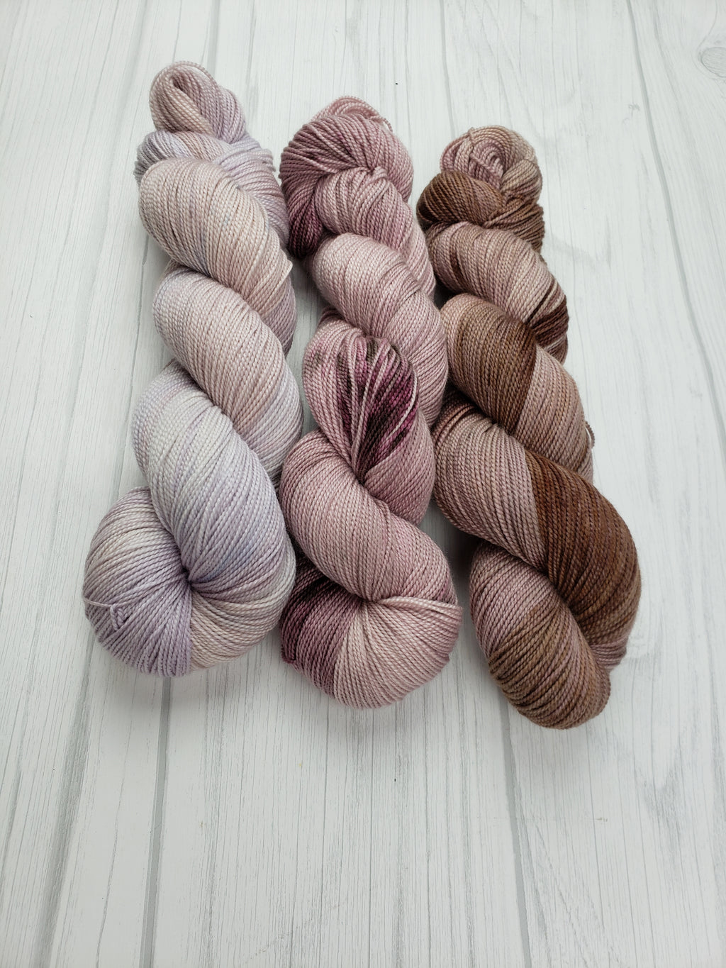 Plum Creek, Hand Dyed Fade Set in Sock Weight - Spindle warps yarns