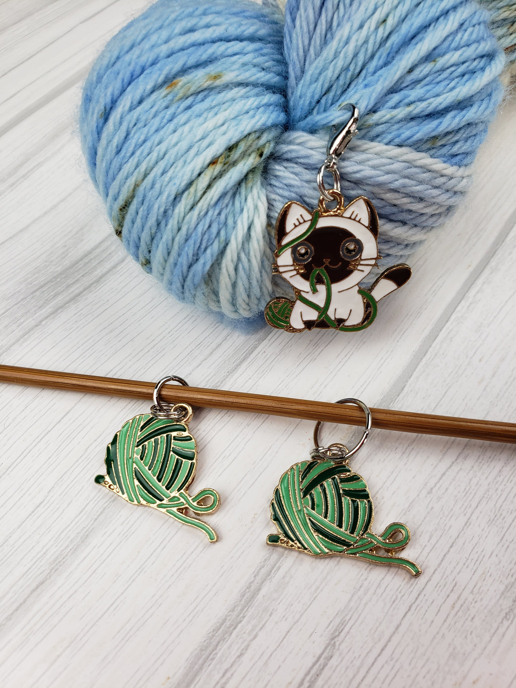 Yarn and Kitty Charms, Set of 2 - Spindle warps yarns